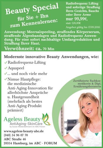 Ageless Beauty Alstermagazin Aktionsangebot Radiofrequenz-Lifting  August 2016
